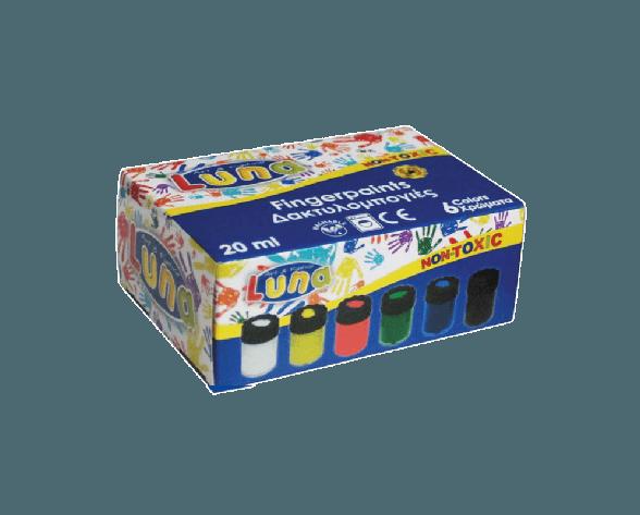 Luna Δαχτυλομπογιές 6 Χρώματα Χ 20ml