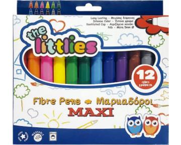 The Littlies Fibre Pens Maxi Tip 12 Χρώματα